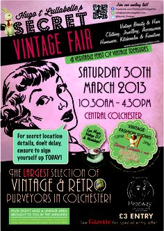 Vintage Fever will be trading at The Secret Vintage Fair on Sat, 30th March. 10:30am - 4:30pm, in Colchester (location will be confirmed next week) make sure you come see us & all of our great new stock! x