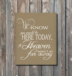 Wedding Memory Sign–We Know You Would Be Here Today-DIY Printable Wedding Sign–8x10 Rustic Kraft Sign–Rustic Kraft Sign-Instant Download