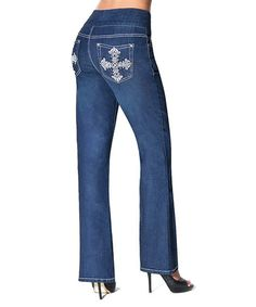 Take a look at this Tru Luxe Indigo Wash Crystal Cross Seville Pull-On Bootcut Jeans by Tru Luxe Jeans on #zulily today!