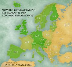 A map showing the number of vegetarian restaurants per million people around Europe.