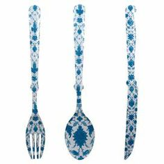 """3-piece oversized utensil wall decor in blue damask.   Product: 3-Piece wall art setConstruction Material: MetalColor: Blue damask and whiteDimensions: 38"""" H x 4"""" W each"""