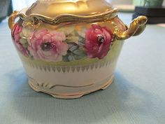Antique Porcelain Hand Painted Gold Trim Cookie Jar / Biscuit Tin / Candy Dish
