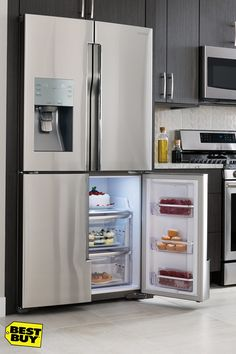 The best food has always come with a high price tag, until now. You can save big and eat well by simply upgrading your refrigerator. Door alarms will let you know if you left the door open, power freeze and power cool let you chill your favorite drinks or frozen treats in half the time, and humidity-controlled crispers extend the life of your produce. Keep your family and your wallet full with a new innovative fridge from Best Buy.