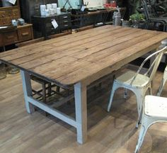 Love the table, chairs not so much but love the idea of a two tone farmhouse type table for my Irish dining room!