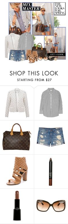 """""""Seersucker + Saddles: The Mix Master"""" by teah507 ❤ liked on Polyvore featuring Soaked in Luxury, Band of Outsiders, Louis Vuitton, rag & bone, Dolce Vita, NARS Cosmetics, Giorgio Armani, Burberry, Mulberry and mixmaster"""