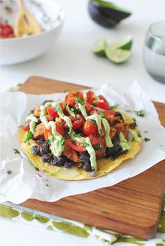 Bruschetta Chicken Tostadas from Bev Cooks Mexican Food Recipes, New Recipes, Real Food Recipes, Chicken Recipes, Cooking Recipes, Yummy Food, Favorite Recipes, Healthy Recipes, Tasty
