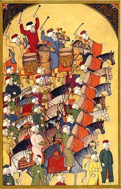 """Janitscharenkapelle (mehterhane) Typisch für die Janitscharenmusik waren Holz- und Blechblasinstrumente, die die Melodie spielten. Sie wurden von Rhythmusinstrumenten untermalt. Die Musiker dieses """"mehterhane"""" spielen auf Oboen (zurna) und kleinen Handpauken (nakkare). Levni, osmanische Miniaturmalerei, aus dem """"Surname-ı Vehbi"""", Anfang 18. Jh."""