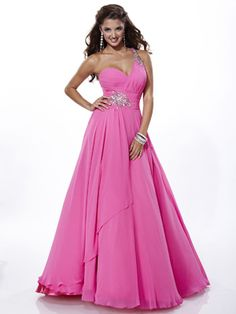 One Strap Chiffon Prom Dress