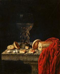 Johannes Georg Hinz: stilleven met suikergoed en een roemer. 17e eeuw. Particulier bezit.
