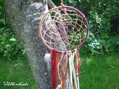 Dream Catcher mobile ribbons feathers red brown by ToTheWindGods