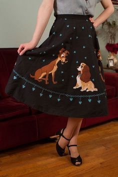 Rare 1950's 'Lady And The Tramp' Disney Novelty Print Skirt. by fabgabsvintage, ebay