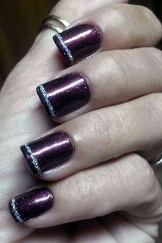 Dark polish and jazz it up with a thin line of sparkly polish Mani Pedi, Manicure, Nail Polishes, Fall Pedicure, Pedicure Ideas, Nail Ideas, Burgundy Nail Polish, Fall Nail Trends, Nagellack Trends