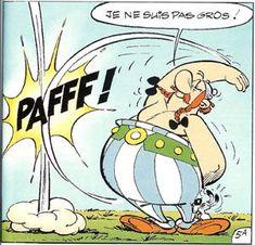 "Obelix: ""I'm not fat. Bd Comics, Funny Comics, Lucky Luke, Harley Benton, Asterix E Obelix, Illustrations, Illustration Art, French Cartoons, Childhood Stories"