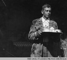 Man with coffee at Melrose Plantation in Natchitoches Louisiana in the 1930s :: State Library of Louisiana Historic Photograph Collection