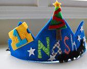 Custom fieltro y tela corona feliz cumpleaños hecho para que coincida con feliz cumpleaños bandera polar express