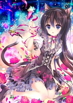 ✮ ANIME ART ✮ neko. . .cat girl. . .cat ears. . .cat tail. . .dress. . .lace. . .ribbons. . .collar. . .flowers. . .flower petals. . .long hair. . .sparkling. . .magical. . .cute. . .kawaii
