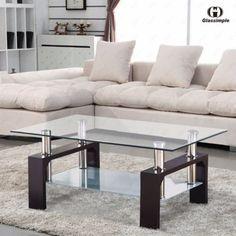 rectangular glass coffee table shelf chrome walnut wood living room furniture ad - Futon Living Room Set