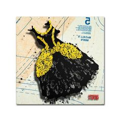 """Trademark Art """"Black and Yellow Swirls"""" by Roderick Stevens Graphic Art on Wrapped Canvas Size:"""