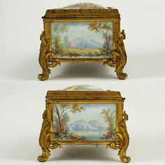 Antique Napoleon III era French kiln-fired enamel and gilt bronze jewelry casket. The box features five exquisite kiln-fired enamel on convex copper