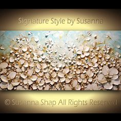 ORIGINAL Large Impasto Landscape Cream White Flowers Oil Painting Contemporary Palette Knife Painting by Susanna Ready to Hang Gallery Art