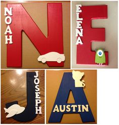 Fun name sign for kids!  Made of wood, painted and ready to hang on a wall or door.  Any color combinations are available.  Great baby shower gift! There is an adult Family name one available as well.  Learn how to make these at my blog, or buy one: Wood Name Sign for Kids - via Etsy. www.thecraftymom.blog.com