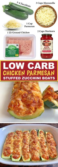 A quick and easy keto zucchini boat recipe made with ground chicken, marinara and cheese. If you're looking for easy keto dinner ideas, these chicken parmesan stuffed zucchini boats are a slam dunk. No Carb Recipes, Low Carb Dinner Recipes, Keto Dinner, Cook Dinner, Primal Recipes, Beef Recipes, Low Carb Chicken Parmesan, Chicken Marinara, Keto Chicken