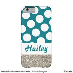 Personalized Silver Glitter White Polka Dot Barely There iPhone 6 Case