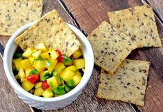 Bright and fruity mango salsa is the perfect dipper or topper for grilled fish or meat. Way Better Mango Salsa  Ingredients 1 mango, peeled, seeded and chopped (about 2 cups) 1/4 cup diced red bell pepper, fresh or roasted 1 green onion, thinly sliced 2 tablespoons chopped cilantro 1 fresh jalapeno chile pepper, seeded and minced 2 tablespoons lime juice 1 tablespoon lemon juice salt and pepper to taste Way Better Sweet Chili Tortilla Chips Preparation Combine the mango, red bell pepper…