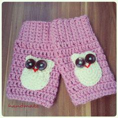 Owl mittens #handmake #handmade #crochet #pink #white #owl #owndesign #mittens #autumn #wool #women #etsyfind #etsy #instacrochet #lovely