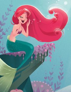 """Ariel from The Little Mermaid illustration by Brittney Lee from the book """"Part of Their World (Disney Princess: the Little Mermaid)"""" I like this style of art Walt Disney, Gif Disney, Disney Nerd, Disney And Dreamworks, Disney Magic, Disney Pixar, Princesa Ariel Disney, Disney Princess Ariel, Disney Princesses"""