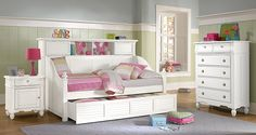 The Mayflower II White Furniture Kids Collection | Furniture.com. White pine solid bookcase daybed with trundle.