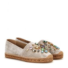 Dolce & Gabbana - Crystal-embellished velvet espadrilles - We love this signature Dolce & Gabbana take on the espadrille. The classic style is finished in luxe beige velvet, and adorned with multicoloured crystals which serve as a sophisticated update to the humble jute base. seen @ www.mytheresa.com