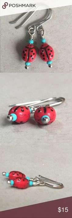 .925 Sterling Silver Ladybug Dangle Earnings Ladybugs and glass turquoise beads create this eye catching pair. Made using .925 sterling silver ear wires and head pins. All of my sterling silver is purchased from Rio Grande to ensure all of our pieces are made using the finest metals available. 100% handmade by me. Thanks for stopping by🌴 Jewelry Earrings