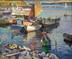 """Harbor Scene"", Antonio Cirino, Oil on Canvas, 24 x 30"", Rockport Art Association."