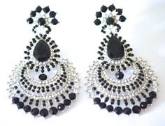 Vintage Style Bollywood Silver/Black Diamante Crystal Large Chandelier Earring Wedding Bridal Prom Boho