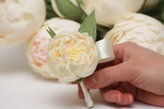 peony boutonniere, wedding flower, wedding peony, wedding decor, paper peonies, paper boutonniere, paper flower.