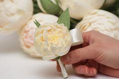 peony boutonniere, wedding flower, wedding peony, wedding decor, paper peonies, paper boutonniere, paper flower.