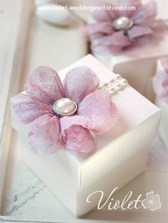 Handmade wedding gift box adorned with beautiful pink textile flower and pearl embellishments Elegant Wedding Favors, Wedding Favours, Wedding Invitations, Wedding Stationery, Invitation Cards, Rustic Wedding, Creative Gift Wrapping, Creative Gifts, Wrapping Ideas