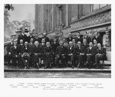 A. Piccard, E. Henriot, P. Ehrenfest, Ed. Herzen, Th. De Donder, E. Schrödinger, J.E. Verschaffelt, W. Pauli, W. Heisenberg, R.H. Fowler, L. Brillouin; P. Debye, M. Knudsen, W.L. Bragg, H.A. Kramers, P.A.M. Dirac, A.H. Compton, L. de Broglie, M. Born, N. Bohr; I.Langmuir, M. Planck, M. Curie, H.A. Lorentz, A. Einstein, P. Langevin,  Ch. E. Guye, C.T.R. Wilson, O.W. Richardson    Collection of some of the greatest scientific minds of the last century.   A photograph from the October 1927…