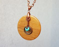 Wood  pendant, Round slice cherry wood pendant necklace, Copper wire decorated pendant