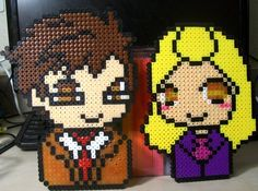 10th Doctor and his companion Rose - Doctor Who perler beads by Penji on deviantART