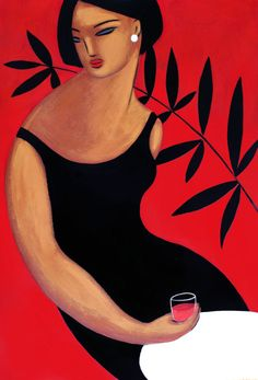 woman and wine by KolorAzul on Etsy,Red illustration,   ilustración . Art, Painting.