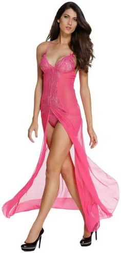 Women's Sexy Chiffon Babydoll Nightwear Long Gown Lingerie with Thong - Hot Pink - Clothing, Lingerie, Sleep & Lounge, Sleep & Lounge, Nightgowns & Sleepshirts & Sleepshirts Lingerie Gown, Lingerie Sleepwear, Sexy Lingerie, Pretty Lingerie, Babydoll Nightwear, Bikini Cover Up, Short Cocktail Dress, Sexy Dresses, Wrap Dresses