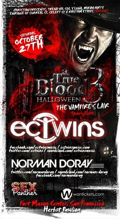 Get your tickets for a true blood halloween at Fort Mason, San Francisco Oct 27th! TIX INFO: http://www.eventbrite.com/event/4307676376/SelectEnt/3063677667