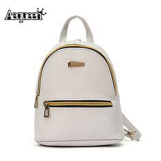 AEQUEEN Leather Backpack Women Student School Bag Backpacks For Teenage  Girls Cute Rucksack Female Mini Book 16f1266a2f
