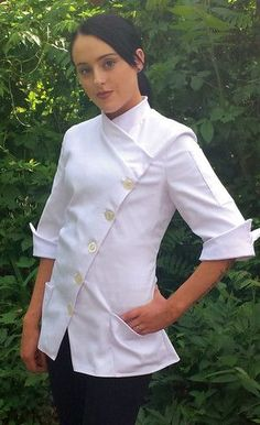 Fitted Chef Coat for Women, the Yasmeen : a Modern and stylish chef coat with length sleeves, perfect in length with peaked cuffs Note: Yasmeen sizing is a looser than our other jackets, but a size down for a sli Uniform Design, Pastry Chef, Work Attire, Nylons, Coats For Women, Chef Jackets, Female, How To Wear, Clothes