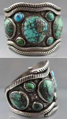 Vintage cuff | Artist unknown.  Ithaca Peak or Black Web Kingman turquoise, and sterling silver