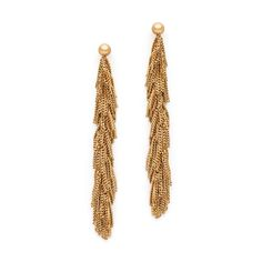 'Tassel' drop stud earrings are made in yellow gold-plated sterling silver. Gold Tassel Earrings, Stud Earrings, Contemporary Jewellery, Sterling Silver Jewelry, Fine Jewelry, Chain, Yellow, Stud Earring, Necklaces