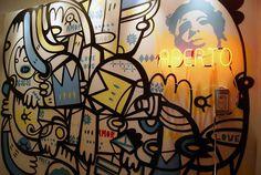 Detalhe de uma parede que acabei de pintar em um apartamento lindíssimo! (Técnica mista com neon) 2013 Artista: Loro Verz www.loroverz.com #loroverz #neon #art #lavabo #sãopaulo