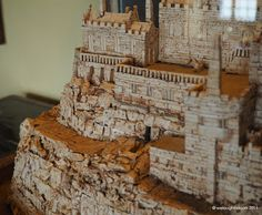 Model of St Michael's Mount made out of Champagne corks by the Butler